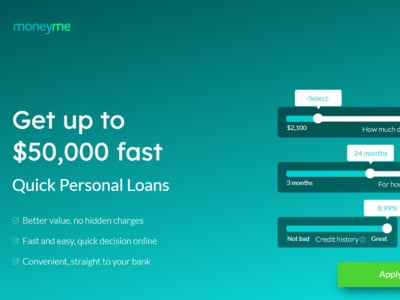 MoneyMe homepage